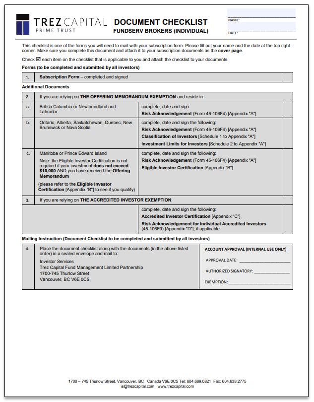 Trez Capital Prime Trust – FundSERV Brokers – Subscription Form (Individuals)