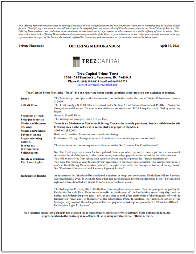 Trez Capital Prime Trust – Offering Memorandum