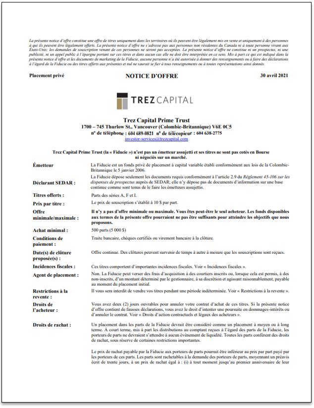 Trez Capital Prime Trust – TCPT-notice d'offre
