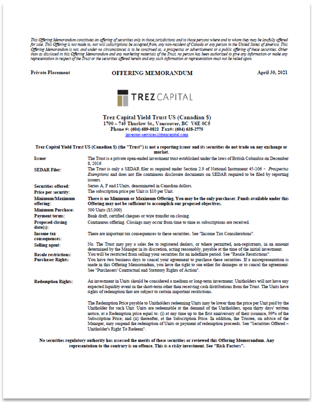 Trez Capital Yield Trust U.S. (CAD) – Offering Memorandum