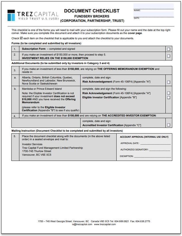 Trez Capital Yield Trust US (USD) – FundSERV Brokers – Subscription Form (Corporate)