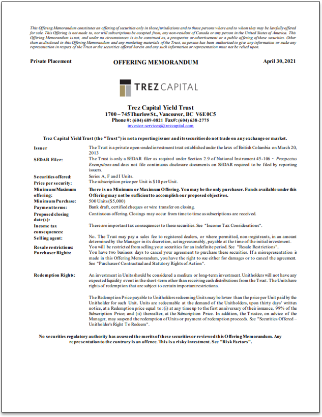 Trez Capital Yield Trust – Offering Memorandum