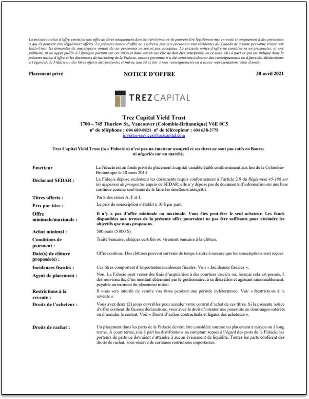 Trez Capital Yield Trust – TCYT- notice d'offre