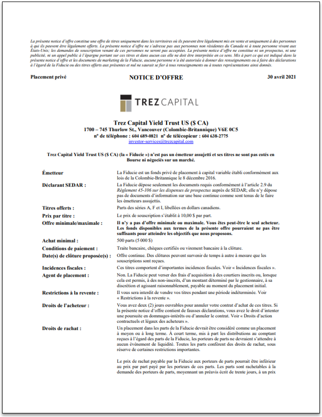Trez Capital Yield Trust US (CAD) – TCYTUS(CAD) notice d'offre