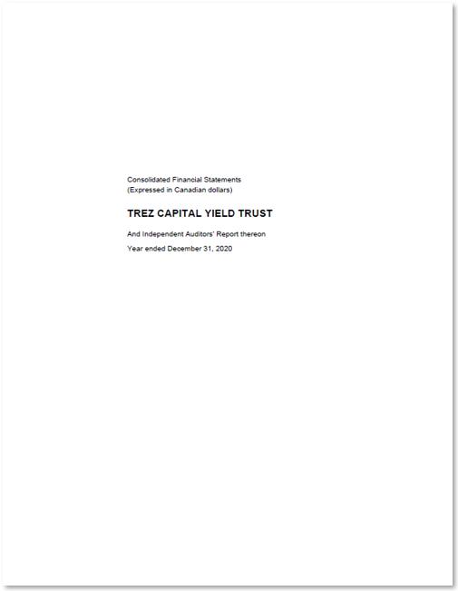 Trez Capital Yield Trust – Inst – Audited Financial Statements