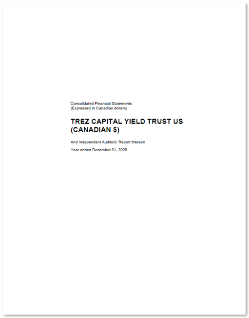 Trez Capital Yield Trust US (CAD) – Inst – Audited Financial Statements