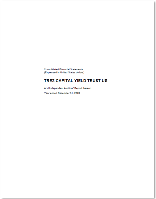 Trez Capital Yield Trust US (USD) – Audited Financial Statements