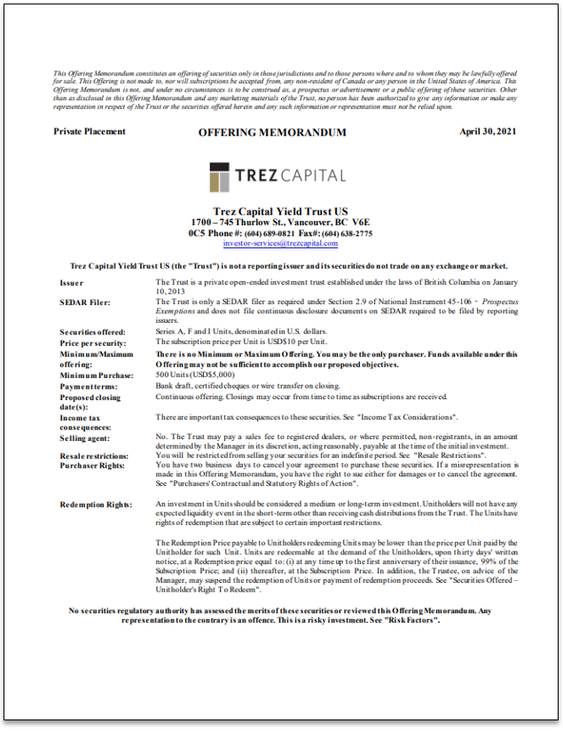 Trez Capital Yield Trust U.S. (USD) – Offering Memorandum