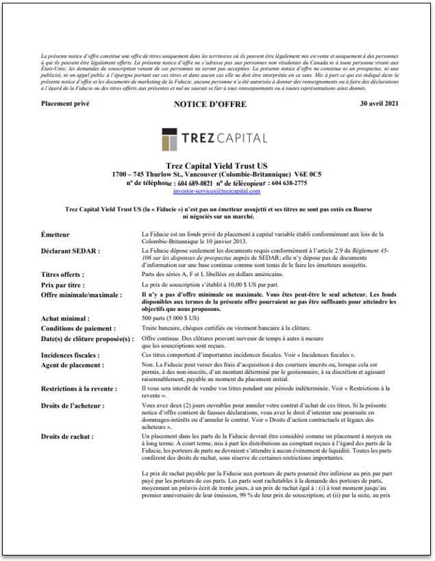 Trez Capital Yield Trust US (USD) – TCYT US (USD) notice d'offre