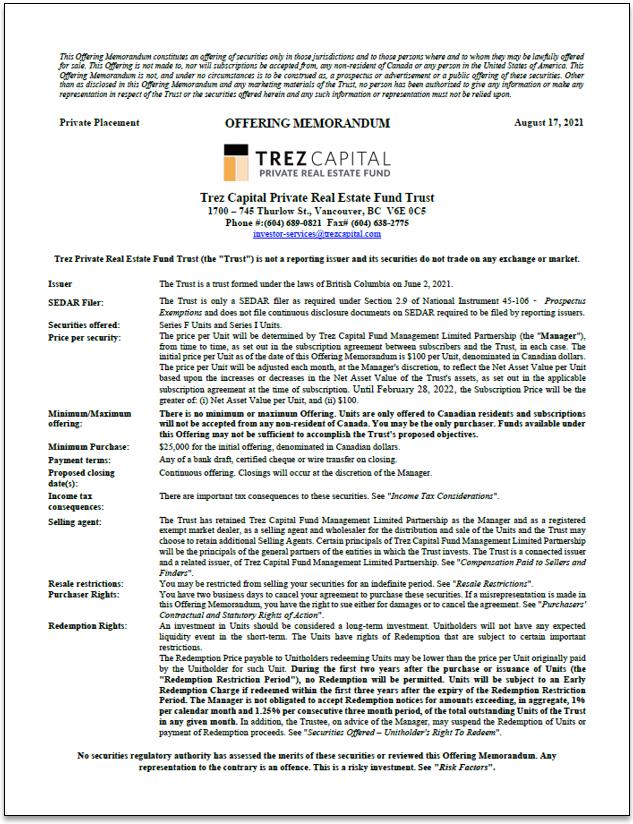 Trez Capital Private Real Estate Fund Trust – Offering Memorandum
