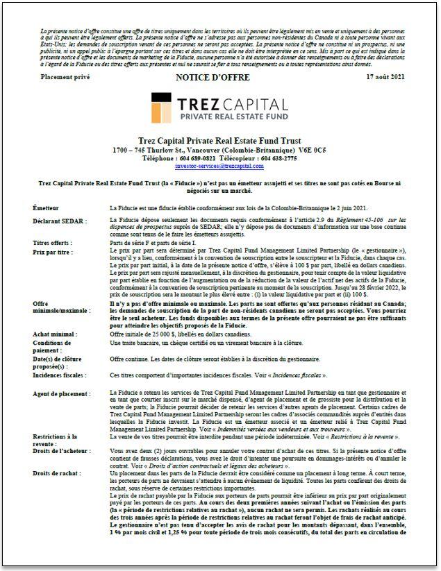 Trez Capital Private Real Estate Fund Trust – Inst. – notice d'offre